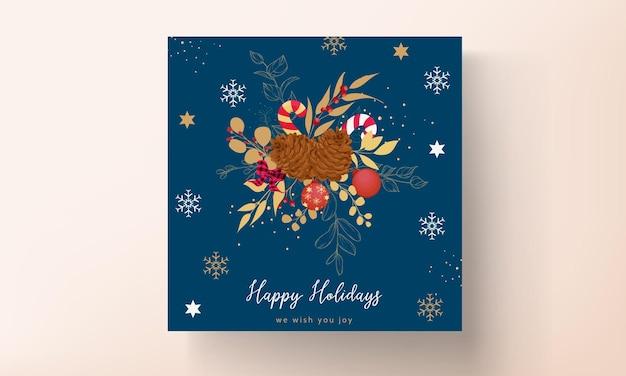 Luksusowy wzór złotej i czerwonej wesołej kartki świątecznej