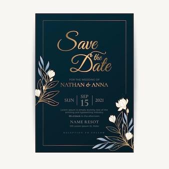 Luksusowy zapis szablonu zaproszenia na datę