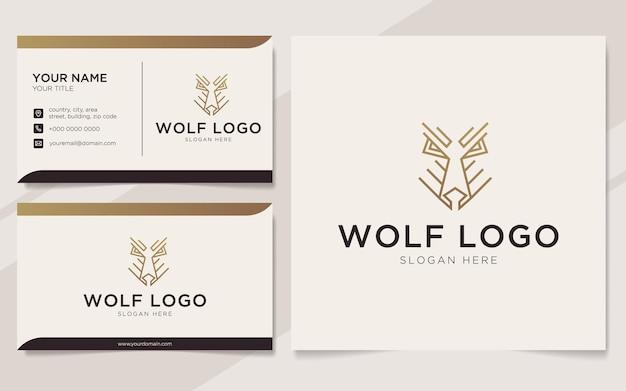 Luksusowy zarys logo wilka i szablon wizytówki