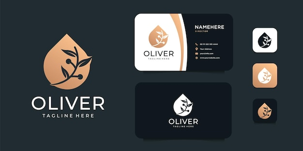 Luksusowy zestaw do projektowania logo roślin spa oliwy z oliwek.
