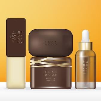 Luksusowy zestaw kosmetyków lub zestaw kosmetyków w kolorze brązowo-złotym z litym blaszanym pudełkiem, mydłem, słoikiem z pomadą lub kremem, opakowaniem z brązowym kroplomierzem z olejem lub serum.