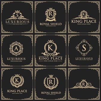 Luksusowy zestaw logo, hotel butikowy, królewski i królewski zestaw ikon.