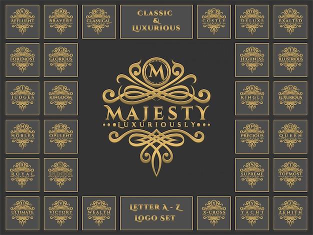 Luksusowy zestaw logo list w klasycznym stylu ornamentu