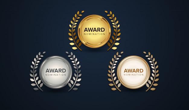 Luksusowy zestaw logotypów nagród