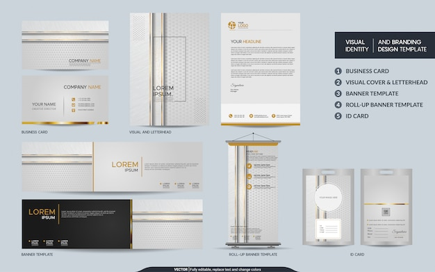 Luksusowy zestaw papeterii z białego złota i wizualna tożsamość marki