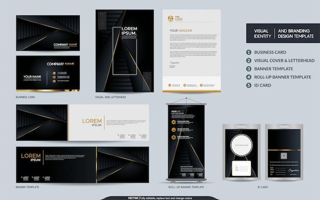 Luksusowy zestaw papeterii z czarnego złota i wizualna tożsamość marki z abstrakcyjnym tłem nakładających się warstw