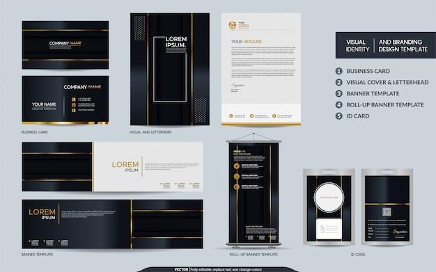 Luksusowy zestaw papeterii z czarnego złota i wizualna tożsamość marki z tłem nakładających się warstw.