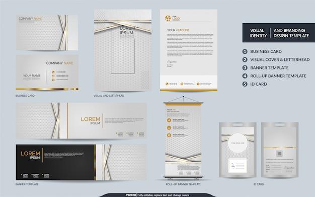 Luksusowy zestaw piśmienniczy z białego złota i wizualna tożsamość marki z abstrakcyjnymi nakładającymi się warstwami