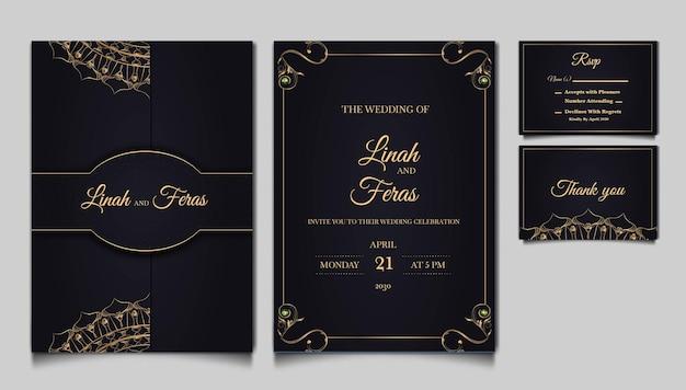 Luksusowy zestaw projekt karty zaproszenie na ślub