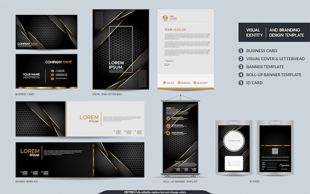 Luksusowy zestaw szablonów papeterii z czarnego złota i wizualna tożsamość marki z abstrakcyjnymi nakładającymi się warstwami.