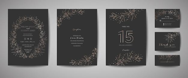 Luksusowy zestaw zaproszenia ślubne z kwiatowymi elementami. zapisz kolekcję kartek z datami za pomocą złotych kwiatów liści. projekt rsvp z ornamentem liści. ilustracja wektorowa