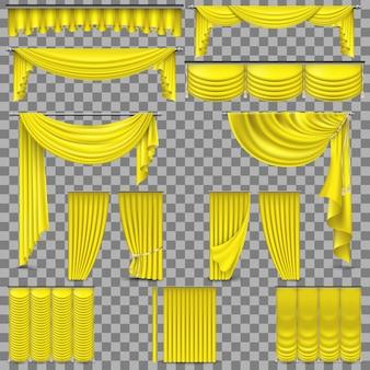 Luksusowy zestaw zasłon z jedwabnego aksamitu w kolorze złotym.