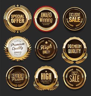 Luksusowy zestaw złotych odznak premium
