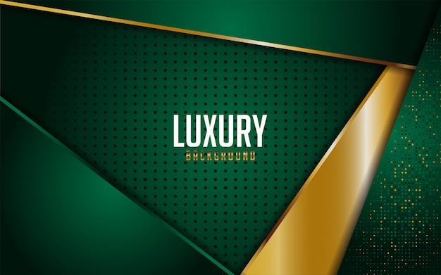 Luksusowy zielony zestaw ze złotymi liniami