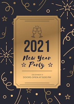 Luksusowy złoty bilet nowy rok 2021 szablon plakatu