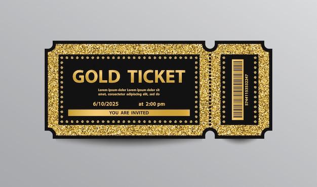 Luksusowy złoty bilet szablon na białym tle