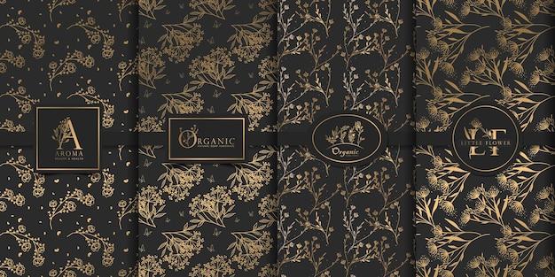 Luksusowy złoty i czarny wzór kwiatowy wzór.
