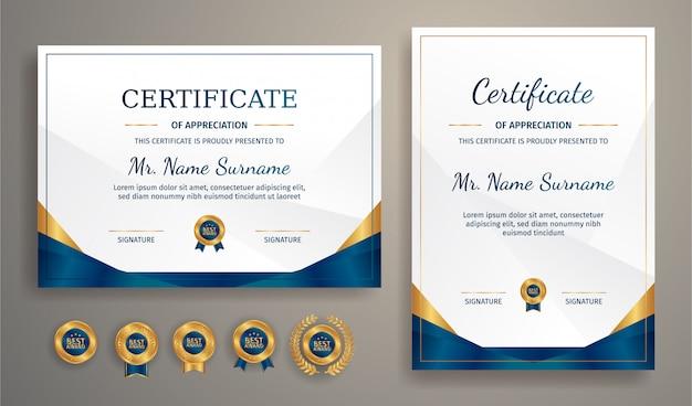 Luksusowy złoty i niebieski certyfikat ze złotą odznaką i szablonem granicy