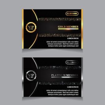 Luksusowy złoty i platynowy szablon karty członkowskiej vip