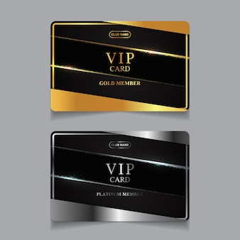 Luksusowy złoty i platynowy szablon projektu karty członka vip