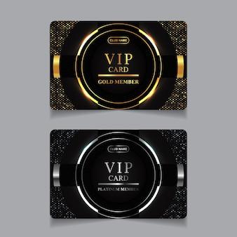 Luksusowy złoty i platynowy szablon projektu karty vip