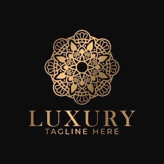 Luksusowy złoty mandala logo szablon projektu.