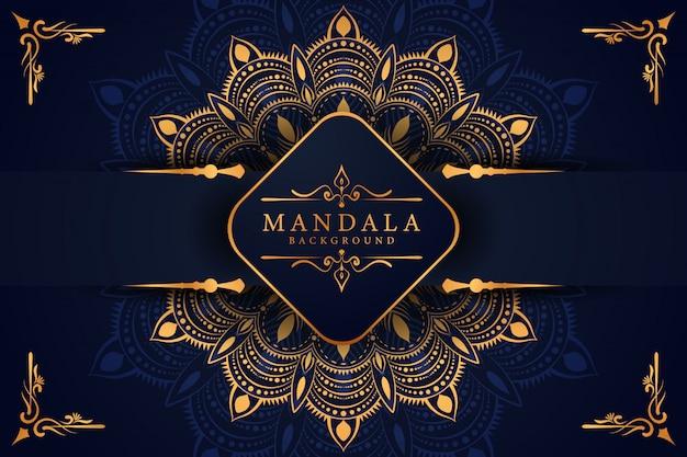 Luksusowy złoty mandali tło z złotym arabeskowym arabskim islamskim wschodnim stylem