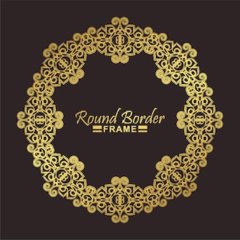 Luksusowy złoty okrągły kwiatowy wzór ramki