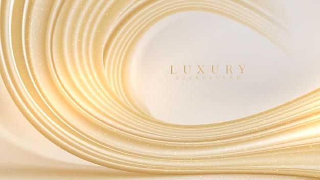 Luksusowy złoty płyn streszczenie tło, styl tapety 3d, nowoczesny projekt okładki. ilustracja wektorowa.