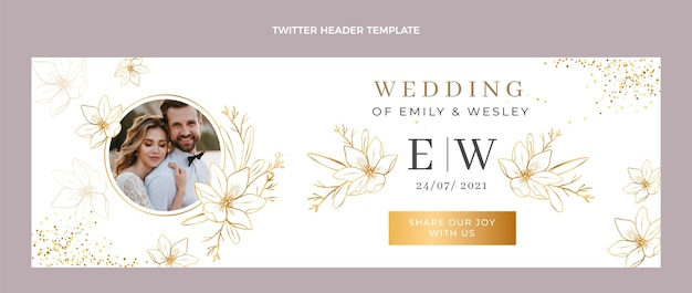 Luksusowy złoty ślubny nagłówek twittera