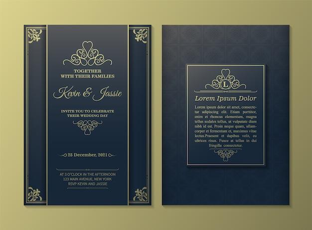 Luksusowy złoty szablon karty zaproszenie