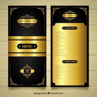 Luksusowy złoty szablon menu