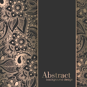 Luksusowy złoty szablon tło z zentangle ręcznie rysowane kwiaty