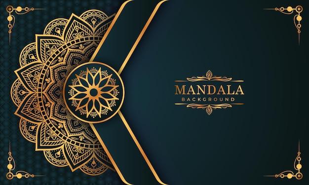 Luksusowy złoty wzór arabeski w tle mandali arabski islamski styl wschodni premium wektorów