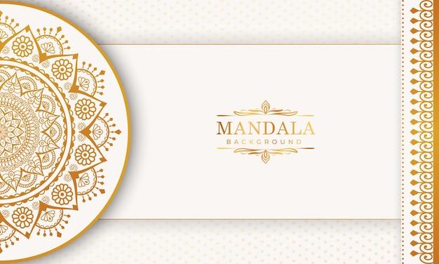 Luksusowy złoty wzór arabeski w tle mandali premium wektorów