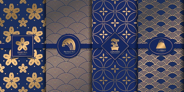 Luksusowy złoty wzór japoński projekt.