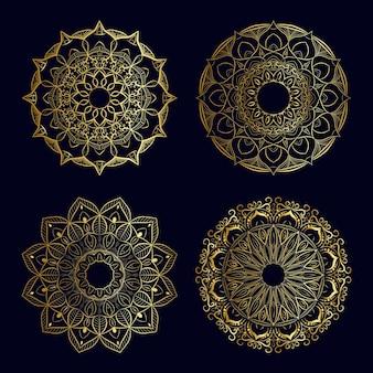 Luksusowy złoty zestaw mandali