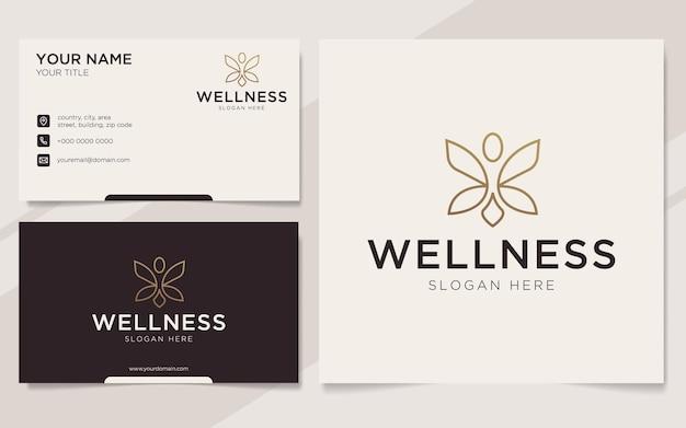 Luksusowych ludzi wellness logo i szablon wizytówki