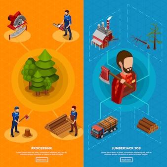 Lumberjack izometryczne pionowe banery