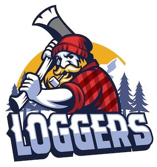 Lumberjack maskotka kołysząc siekierą