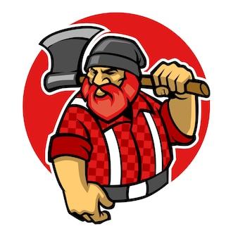 Lumberjack maskotka przytrzymaj topór