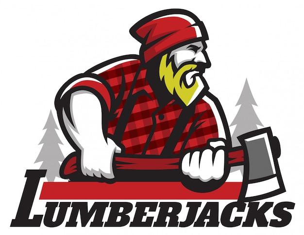 Lumberjack maskotka trzyma cioskę