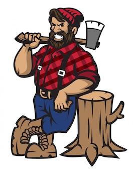 Lumberjack opiera się na kłodzie drewna