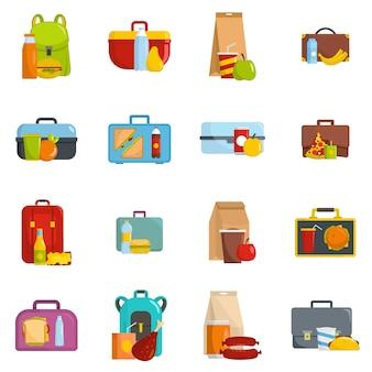 Lunchbox jedzenia ikony ustawiają wektor odizolowywającego