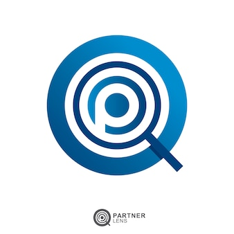 Lupa szkło logo z literą początkową p