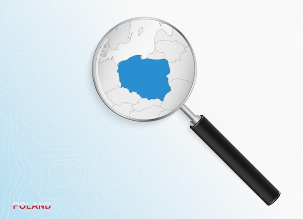 Lupa z mapą polski na abstrakcyjnym tle topograficznym.