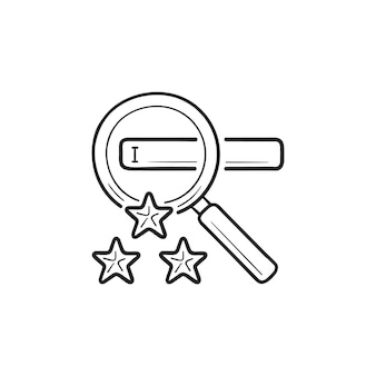 Lupa z paskiem wyszukiwania i trzy gwiazdki ręcznie rysowane konspektu doodle ikona. koncepcja marketingu w wyszukiwarkach
