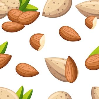 Łuskane orzechy migdałowe bez łupin z liśćmi bezszwowa ilustracja na białym tle strony internetowej i aplikacji mobilnej