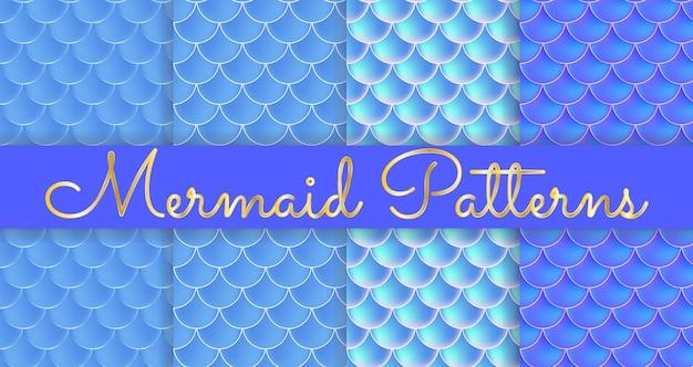 Łuski syrenki. fish squama. zestaw niebieski bez szwu wzorów. kolorowa ilustracja. akwarele tła. druk skali.