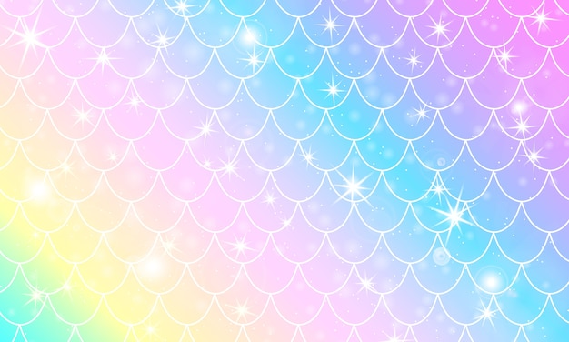 Łuski syrenki. łuska rybna. wzór kawaii. akwarela gwiazdy holograficzne. tęcza tło. druk w skali kolorów.